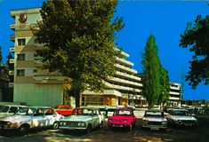 Postcard from Romania, Mamaia, feauring DACIA 1300 (x8) + 1100 (x2), FIAT 1300, MOSKVITCH 408E, ŠKODA 1000 MB and others Black Sea, Fiat, Postcards, Cities, Motorcycles, Anna, Street View, Memories, Cars