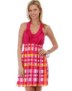 PLAID HALTER DRESS WITH RUFFLE TRIM
