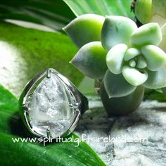 Clear Quartz Crystal Gemstone Silver Clarity Ring Adjustable