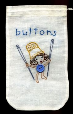 Embroidered Button Bag...Thimble Hat Girl...Adorable!