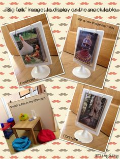 "From Tishylishy: Using the Tolsby frame from Ikea to make ""Big Talk"" inspiration album. Add to snack table to encourage talk between the children and adults. Eyfs Classroom, Classroom Displays, Outdoor Classroom, Eyfs Activities, Classroom Activities, Classroom Organisation, Classroom Management, Ikea Tolsby Frame, Early Years Classroom"