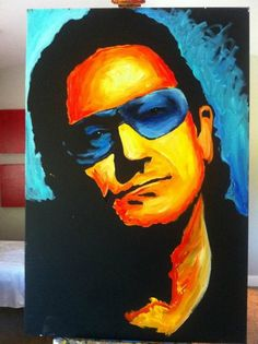 Performance Painting: Bono   -charitybuzz | #2987312 - Bono Ltd. Edition Canvas by Erik Wahl #Charity #CharityBuzz