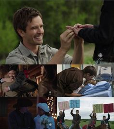 FAVOURITE HEARTLAND MOMENTS – SEASON 7 5. Mallory's goodbye 4. Jack and Lisa's wedding   3. Ty's kiss waking Amy 2. Georgie's adoption 1. Ty reproposing to Amy Heartland Season 7, Amy And Ty Heartland, Heartland Ranch, Best Tv Shows, Movies And Tv Shows, Favorite Tv Shows, Ty And Amy, Heart Land, Amber Marshall