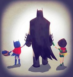 This is totes adorbs. Batman holding hands with Batgirl and Robin.
