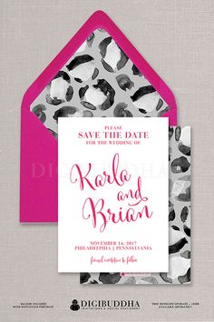 Save The Date Modern Pink Script Black & White animal leopard print with gray Modern glam invitation design available at digibuddha.com
