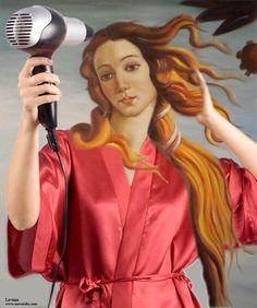 Botticelli Venus with blowdrier