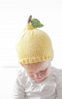 581901cf88b Lemon Baby Hat KNITTING PATTERN   Knit Lemon Hat   Summer Knit Hat    Neutral Baby Nursery   Fruit Hats Summer Hat for Baby Lemon Hat Pattern