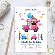 Editable Drive By Ice truck Birthday Parade Invitation, Virtual Party Invite,  Car Girl Pink Quarantine, Instant Download Digital, YOU PRINT Ice Truck, Party Invitations, Invite, Party Printables, Baby Announcement Cards, Pink Girl, 3rd Birthday, Birthday Cards, Digital