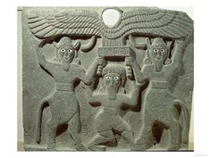 Aramean: Relief of Genii carrying stool and solar disk Guzana (Tell Halaf) palace of Kapara 9th c. BC