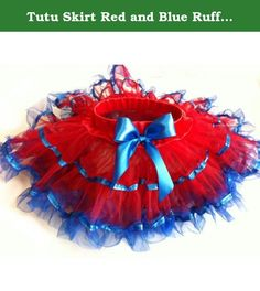 Tutu Skirt Red and Blue Ruffle - Size XS - 6 Months to 18 Months. This cute Tutu skirt is hand picked by Lizzy and Kate. It was made of shining nylon tulle, which looks more shining and fashion. The skirt is very comfortable to wear for kids. It is great for party or causal. We will offer free exchange or return if you are not happy with the product.