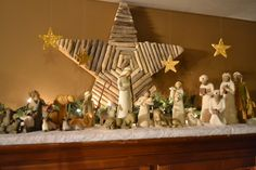 2013 Willow Tree Nativity display. Wooden star was a thrift store find.