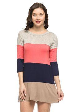Long Sleeve Color Blocked Oversized Tunic