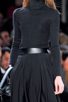 Classic wardrobe solutions ... black roll neck and maxi pleated skirt. Akris