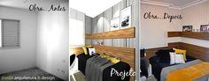 Projeto INSIDE - Antes e Depois - Projeto, execução de reforma e ambientação de uma suíte para adolescentes. Visite nosso site e conheça mais do nosso portfólio: www.insidearquitetura.com.br
