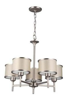 5-light Chandelier with Buffed nickel and Lamee shade from Union Lighting