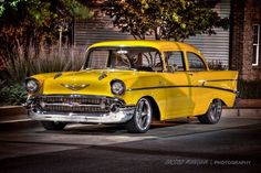 Love the yellow// Bel Air isn't just a place, it's also an American classic car. Here is the 1957 Chevy, Bel Air. 1957 Chevy Bel Air, Chevrolet Bel Air, My Dream Car, Dream Cars, Grand Prix Du Canada, Vintage Cars, Antique Cars, American Classic Cars, Classic Trucks