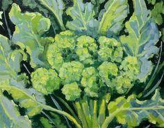 "Daily Paintworks - ""Vegetable broccoli"" - Original Fine Art for Sale - © Linda Blondheim"