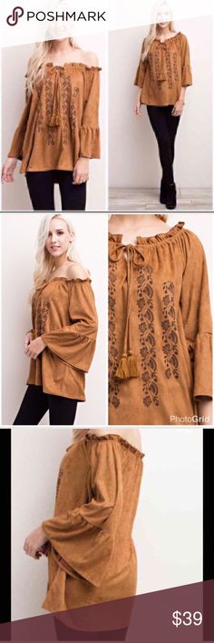 🆕 Camel faux suede on/off shoulder blouse. Large AVAILABLE SEPT 9  Gorgeous camel faux suede on off should blouse. This is a quality boutique piece that you will love. The material is soft and luxurious. It has embroidery detail and a tie string. Super soft and feels wonderful on. Bust measures at 40. Length is 25. 100 percent poly. Size large. Tops Tunics