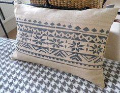 hand printed hessian blue grey fair isle inspired cushion £51.00 - Helkat Design
