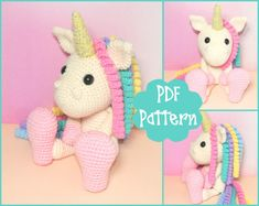 PDF Pattern Unicorn Crochet Pattern Unicorn by EmmaIrlamCrafts