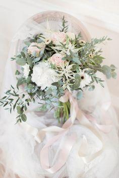 Pink White Peony Rose Ribbons Bouquet Flowers Bride Bridal Romantic Metallic Blush Wedding http://www.craigsandersphotography.co.uk/