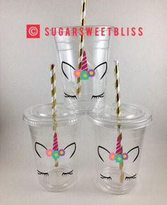 Such cute, magical decorations for a unicorn themed kid birthday party or baby shower!! | Unicorn Party Cups Unicorns Drinking Cup with Lids and Straws Birthday Favors Decorations Favor | Whimsical Kid Birthday Party Ideas, Boy, Girl, Gender Neutral, Magical, Pink, Purple, Gold, Silver, Easy, DIY Inspiration, Affordable, Budget #UnicornParty #UnicornFavors #UnicornPartyDecorations #KidBirthdayDecorations #GirlBirthdayParty #KidBirthdayThemes #Affiliate