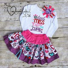 Little Miss Cuter Than Cupid Set, Valentine's Day Shirt and Skirt Set, Cupid Shirt, Monogrammed Shirt, Personalized Shirt