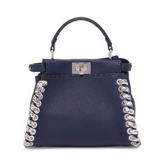 Fendi Peekaboo Mini Lace-Up Leather & Snakeskin Satchel (254.720 RUB) ❤ liked on Polyvore featuring bags, handbags, dark blue, satchels, mini leather satchel, mini satchel handbags, mini satchels, snakeskin handbags and leather handbags