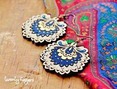 Wood Laser cut Earrings with traditional by TheTwentyFingers, $ 15.00