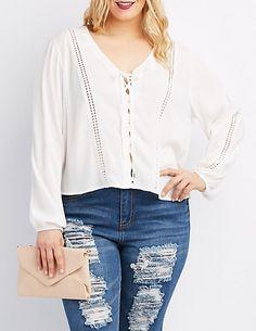 Plus Size Crochet-Trim Lace-Up Crop Top