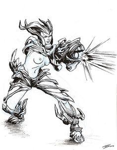 Femme arbre mode combat
