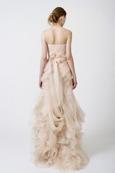 Peach Vera Wang wedding gown.