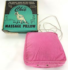 Vintage Chic Electric Massage Pillow Pink Cushion & Box 50's Mid Century Modern
