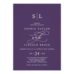 Romantic Calligraphy Purple Monogram Wedding Invite. Click to customize with your personalized details today.