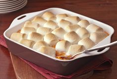 Thanksgiving side dish - Baked Sweet Potatoes with Marshmallows.