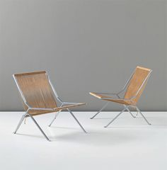 POUL KJÆRHOLM Pair Of U0027Elementu0027 Lounge Chairs, Model No. PK Circa 1951 Matt  Chrome Plated Steel, Halyard Line. Each: 74 X 69 X 67 Cm X 27 X 26 In) ...