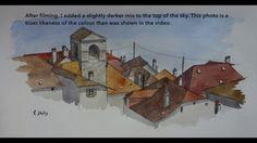 Painting Watercolour Buildings on Cartridge Paper! Watercolor Sketch, Sketching, Sky, Paper, Videos, Painting, Heaven, Heavens, Painting Art