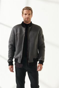 MARK Men Casual Grey Shearling Jacket Black Noble   Luxury Shearling Black Shearling Jacket, Shearling Coat, Grey Pattern, Zip Ups, Bomber Jacket, Men Casual, Luxury, Model, Turkey
