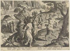 Jan Collaert (II)   Vrouwen verjagen een sater, Jan Collaert (II), Philips Galle, Cornelis Kiliaan, after 1596 - 1628   Een slapende sater wordt in een grot door dorpelingen gevonden. De vrouwen jagen het boswezen met wapens weg. De prent heeft een Latijns onderschrift en is deel van een serie over jachttaferelen.