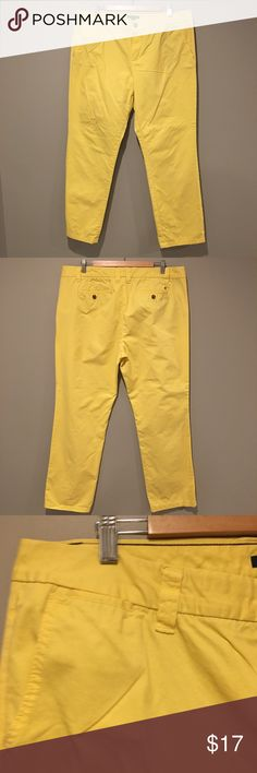"Tommy Hilfiger Yellow Chino Pants Size 18 Tommy Hilfiger Yellow Chino Pants Size 18 EUC - Flat lay waist: 20 1/4"" Inseam is 32"" Rise is 11"" Tommy Hilfiger Pants"