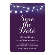 """#Violet  WITH LIGHTS wedding """"SAVE THE DATE"""" Card - #chalkboard #gifts"""