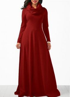 Long Sleeve Wine Red Cowl Neck Maxi Dress  on sale only US$37.06 now, buy cheap Long Sleeve Wine Red Cowl Neck Maxi Dress  at Rosewe.com