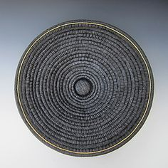 """""""Plato Negro""""  Hand built platter from carved coils."""