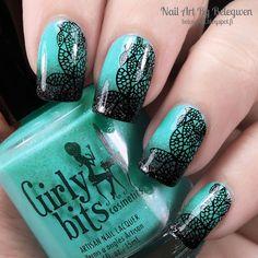 Nail Art by Belegwen: Girly Bits Mint-Al Precision and Dance Legend Gothic Veil
