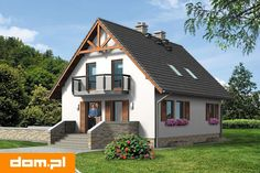 Projekt domu AT Rumiankowa Chata Bis CE - DOM - gotowy koszt budowy Cute Small Houses, Houzz, Home Fashion, Bungalow, Cabin, Architecture, House Styles, Building, Design