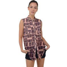 Peach Brick Sleeveless Chiffon Shirt Chiffon Shirt, Sleeveless Shirt, Chiffon Fabric, Custom Buttons, Brick, Button Down Shirt, Peach, Rompers, Casual