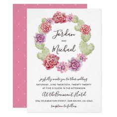 Succulent Cactus Wreath Floral Wedding Invitation - wedding invitations cards custom invitation card design marriage party