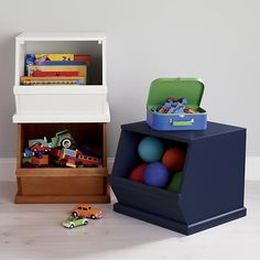 The Land of Nod | Kids' Toy Boxes: Kids Single Wooden Stacking Storage Bin in Toy Boxes