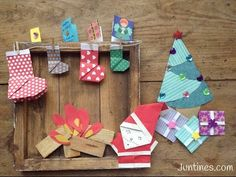 Papa Noel de origami fácil para niños, adornos navideños de papel - Juntines.com
