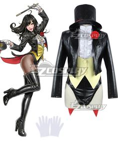 Zatanna Cosplay, Dc Cosplay, Black Suit White Shirt, Black Suits, Zatanna Dc Comics, Dressy White Blouses, Young Justice, Anime Outfits, Wigs